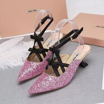 Prada Miu Miu Glitter Sling-back Pumps Pink - Best Deal Online