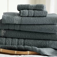 6 Piece Embroidered Egyptian Cotton Towel Set – Vintage Ribbon – (Gray)