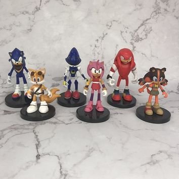 Sonic The Hedgehog 6pcs/set Action Figures 1/12 scale painted figure Amy Rose Sonic Tails Metal Sonic PVC figure Toys Brinquedos
