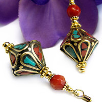 Tibetan Brass Bead Earrings Turquoise Coral Inlay Petals Handmade OOAK