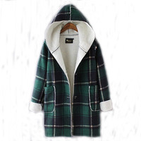 Winter Trench Plaid Coats Long Parka Outerwear Hoodies