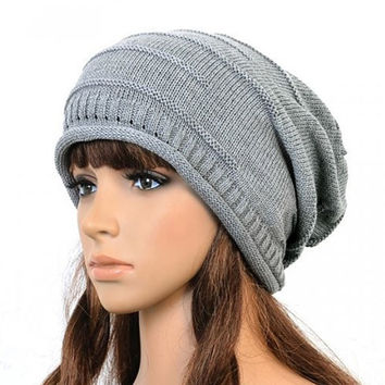 2016 Winter New Fashion Retro Unisex Women Men Oversized Cable Knitted Knit Baggy Slouch Beanie Hat Cap Black Brown Gray