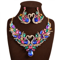 New Africa Wedding jewelry Sets Full Austrian Crystal Swan Necklace Earrings For Women Bridal Jewelry Sets XN-G03