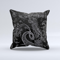 Black with Thin White Paisley Pattern Ink-Fuzed Decorative Throw Pillow