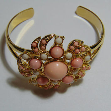 Pink and White Gems Cluster Flower Bracelet with Gold tone wrist Vintage Costume Jewelry