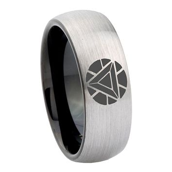 8mm Iron Man Art Reactor Dome Tungsten Carbide Silver Black Promise Rings