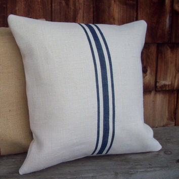 Burlap Pillow Cover with Hand Painted Navy Blue Grain Sack Stripes 16 x 16 by North Country Comforts