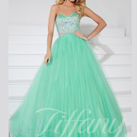 Sweetheart Beaded Lace Top Formal Prom Dress Tiffany Designs 61127