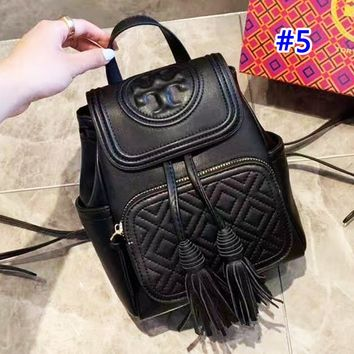 Tory Burch stylish solid color casual diamond lattice clamshell backpack #5