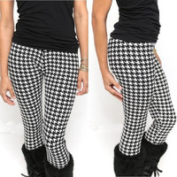 Hot Women Slim Houndstooth Black White Geometric Print Pant Tight Leggings one size fit XXS XS S M L = 1946250308