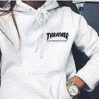 Thrasher Fashion Flame Men Hooded Top Sweater Pullover Hoodie (7-Color) White I