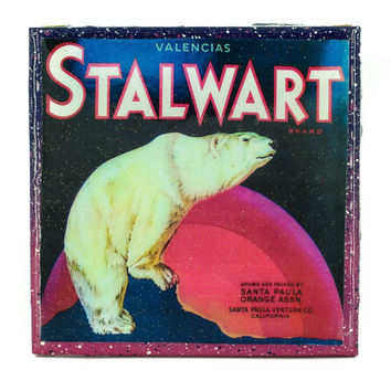 Handmade Coaster Stalwart Bear Brand - Vintage Citrus Crate Label - Handmade Recycled Tile Coaster