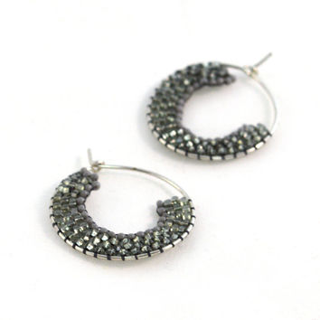 Gray and Sparkling Silver Artisan Hoop Earrings