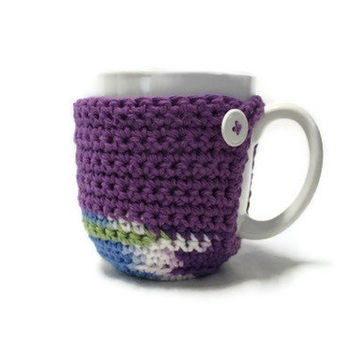 Coffee Cup Cozy with Bottom in Purple, Ready to Ship