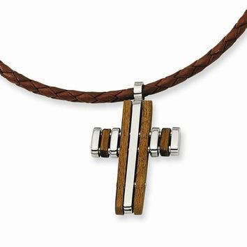 Stainless Steel Wood Accent Cross Pendant On Necklace