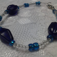 Clear Glass Bead Bracelet with Blue Glass Bead Accents