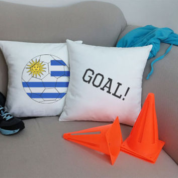 Set of 2 Uruguay Soccer Team Pillows - Cotton Canvas Covers and/or Cushions - 14x14 and 16x16