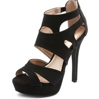 Sueded Zip-Back Caged Pump: Charlotte Russe