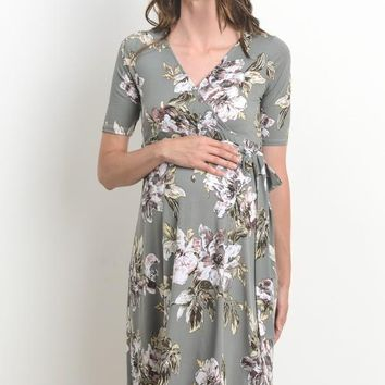 """Maeve"" Grey Floral Maternity Dress"