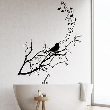 Vinyl Wall Decal Songbird Bird On Branch Notes Music Stickers (2651ig)