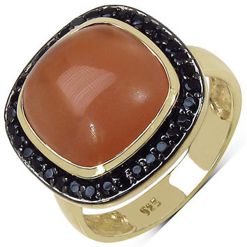 14K Yellow Gold Plated 7.58 Carat Genuine Moonstone & Black Spinel .925 Sterling Silver Ring