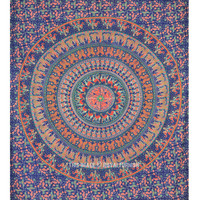Blue Hippie Bohemian Mandala Tapestry, Wall Hanging Mandala Throw Bedding on RoyalFurnish.com