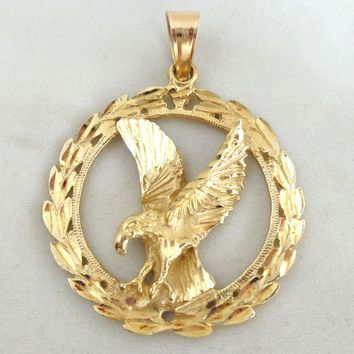 Estate 10K Yellow Gold Eagle Victory Freedom Patriotic Pendant