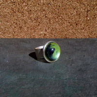 Green Apple and Black Painted Glass Dome Ring Jewelry