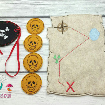 Pirate play set embroidered, dress up, dressup, dress-up, kids, pretend, party favor, grab bag, make believe, map, eye patch, coins