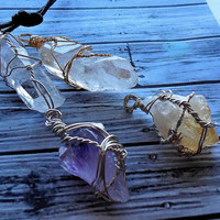 Wire Wrapped Amethyst Geode ,Citrine And Quartz Crystal Rough Minerals Points from Brazil / Wiccan Crystal Pendant