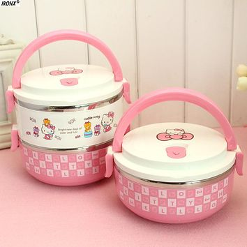 IRONX Cute pink Stainless Steel Lunch Box Hello kitty For Kids Thermal Bento For School Students In Tableware MI9
