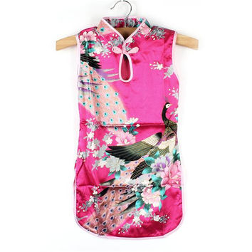 Kids Clothing Toddler Baby Girl Dress Chinese Peacock Cheongsam Qipao