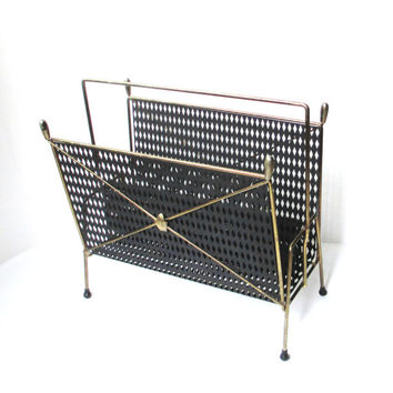 Mid Century Modern Magazine Rack, Vinyl Record Storage, Hollywood Regency Home Decor