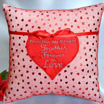 Valentine's Day Red Heart, Together Forever In Love, Modern Shiny Metallic Red Hearts Satin Ring Bearer Pillow