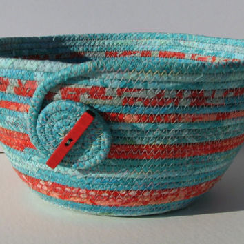 Coiled Fabric Basket, Coiled Fabric Bowl, decorative bowl, teal/coral