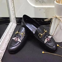 GUCCI Slip-On Women Fashion Embroidery Leather Flats Shoes
