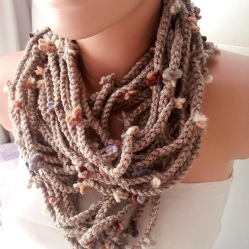 NEW -Loop Scarf-Camel Beige Flower Scarf - Chunky Chain Scarf