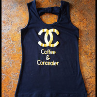 Coffee & Concealer Gold Glitter bow back tank