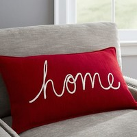 Home Embroidered Lumbar Pillow Cover