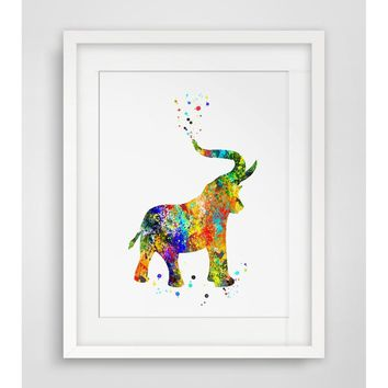 Elephant Watercolor Fine Art Print Watercolor Elephant  Wall Hanging Elephant  Art Paper  Elephant Poster Watercolor Wall Decor