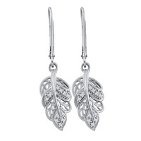 Diamond Fashion Earrings in 10k White Gold 0.06 ctw