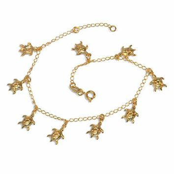 "1-0108-e9 Turtle charms Anklet. 9"" to 10"" adjustable length. 9mm turtles."