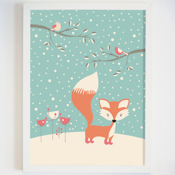 Fox in the Snow Woodland Nursery Wall Art - Cute Fox Wall Art for Nursery - Woodland Animal Art Print - Nursery Art - Children's Wall Art