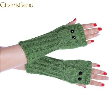 Shocking Show Fashion Knitted Arm Owl Fingerless Winter Gloves Soft Warm Mitten