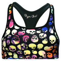 Reversible Sports Bra in Rainbow Skull