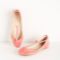 ModCloth Darling Braid-y Brunch Flat in Carnation