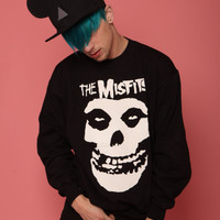 MISFITS SWEATSHIRT BLACK T-SHIRT SKULL VTG PUNK ROCK