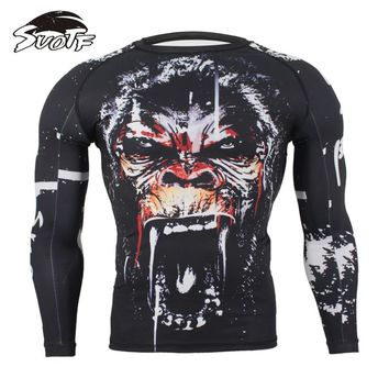 SUOTF MMA Fitness Tattoo Monkey Pattern Thai Boxing Sports Sweater Long Sleeve Boxing jerseys tiger muay thai jerseys MMA