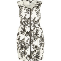 River Island Womens White denim floral print waisted dress