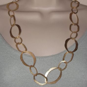Vintage Frosted Gold Tone Large Link Necklace & Earring Set